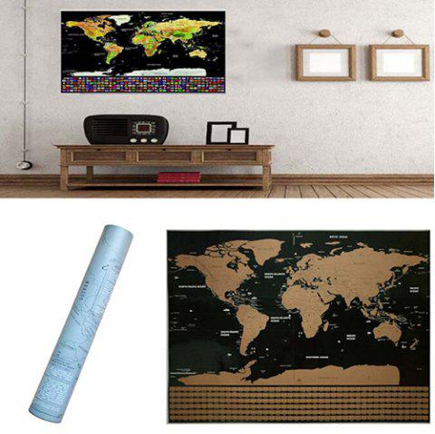 Black Luxury Scratch World Map Color Edition Poster - BLACK