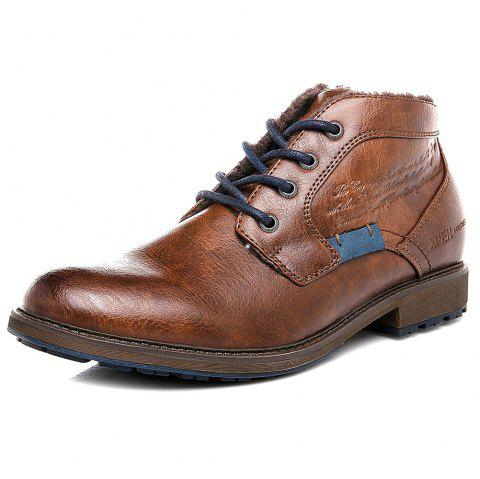 XPER Men Lace-up Boots Leisure Warm Comfortable Classic - LIGHT BROWN EU 44