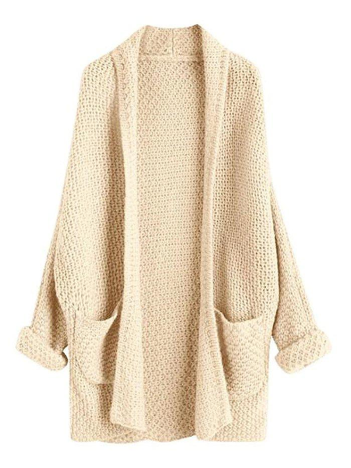 Loose Large Size Solid Color Knit Cardigan - BEIGE ONE SIZE