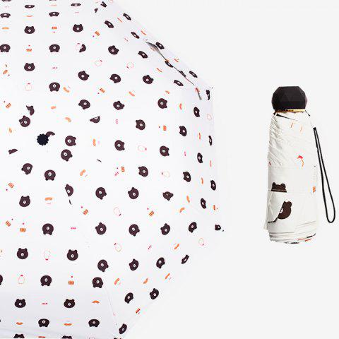 Ultra Light Sun Protection Mini Pocket Umbrella Anti-UV Sun Five Fold Umbrella - WHITE 1PC