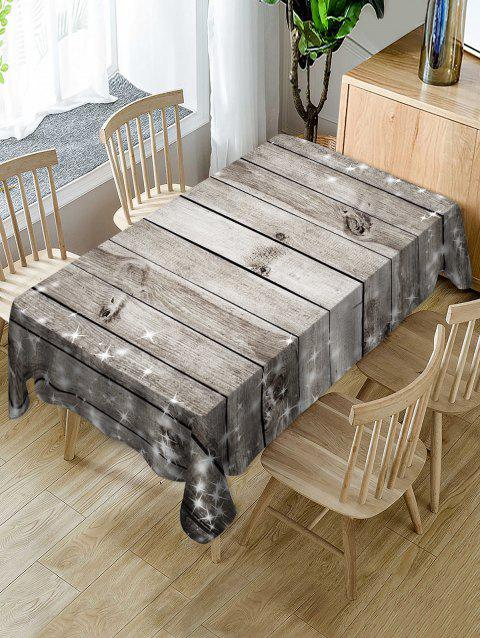 Christmas Wooden Fabric Waterproof Table Cloth - PLATINUM W54 X L72 INCH