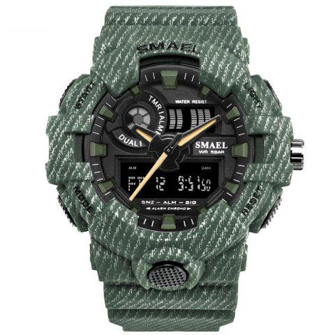 Waterproof Double Display Multi-function LED Electronic Watch - ARMY GREEN