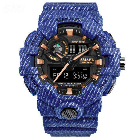 Waterproof Double Display Multi-function LED Electronic Watch - DEEP BLUE