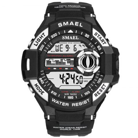 Sports Waterproof Shockproof Single Display Electronic Watch - BLACK