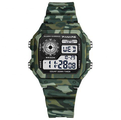 8113 Sports Fan Color Fashion Light And Versatile Watch With Box - CAMOUFLAGE GREEN