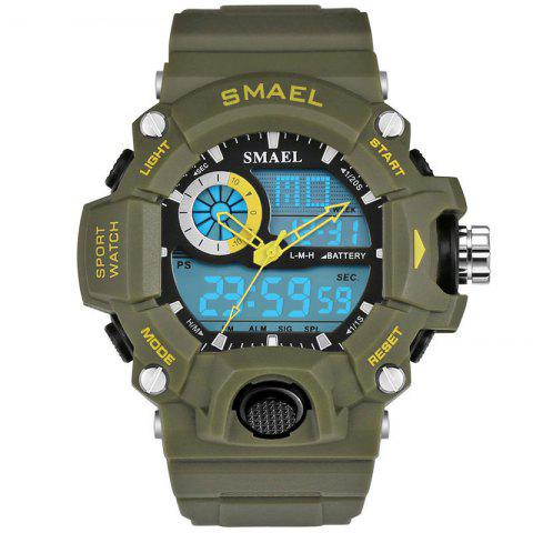 SMAEL 1385 Men's Multifunction Outdoor Mountaineering LED Watch With Box - ARMY GREEN
