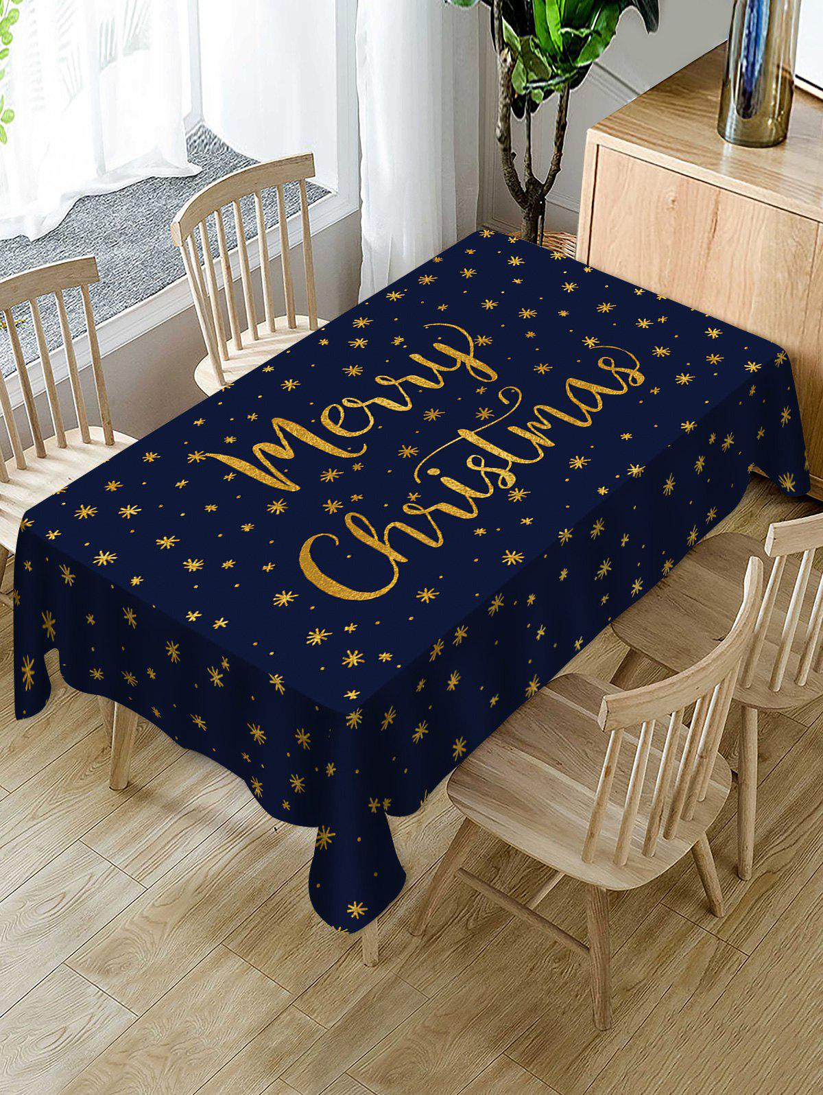Merry Christmas Snowflake Fabric Waterproof Table Cloth - CADETBLUE W54 X L72 INCH