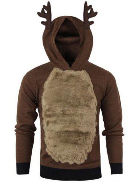 Autumn Winter Men's Jackets Christmas Hooded Antlers Fur Color Matching Sweater - COFFEE XL