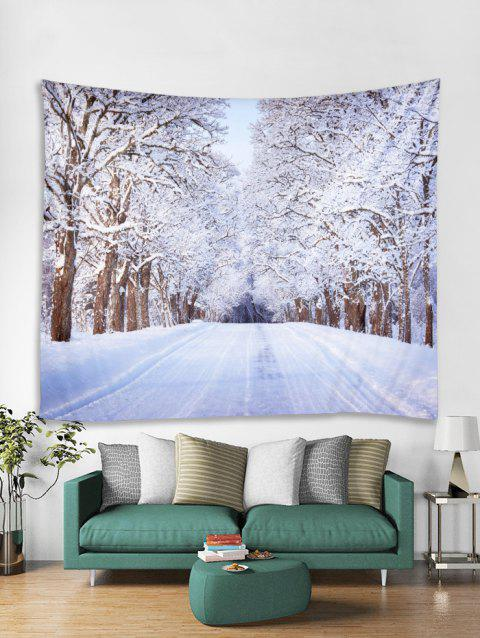 6006301372 Snow Trees Highway Print Tapestry Wall Hanging Decoration - multicolor W79  X L71 INCH