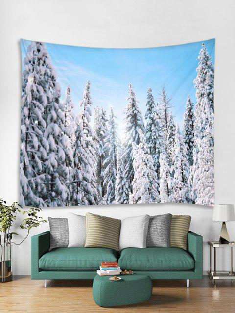 Snow Forest Christmas Theme Tapestry Art Decoration - LIGHT SKY BLUE W91 X L71 INCH