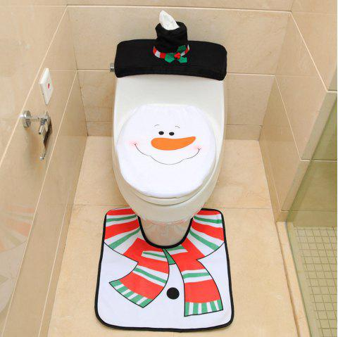 Santa Claus Toilet Seat + Foot Pad + Water Tank Cover Paper Towel Cover - WHITE SNOWMAN