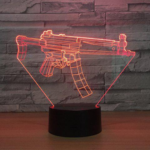 Machine Gun 3D Colorful Lights Remote Control Touch LED Night Light Stereo - BLACK