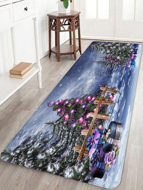 Gift Christmas Tree Printed Non-slip Area Rug - BLUEBERRY BLUE W24 X L71 INCH