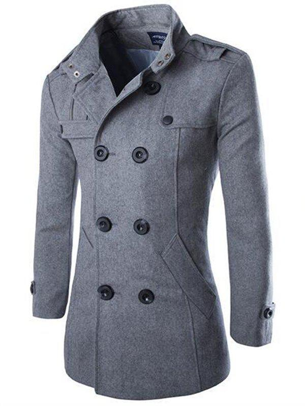 Men Fashionable Slim Double-breasted Classic Woolen Coat - DARK GRAY L