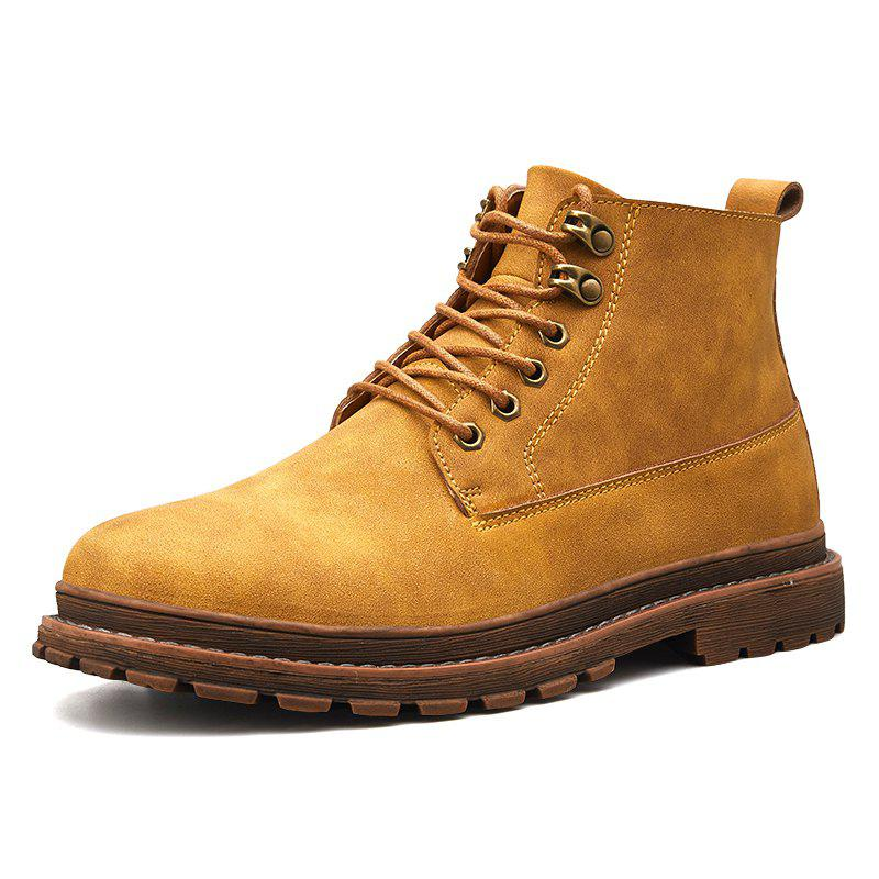 Men Leisure Boots Comfortable Classic High-top Lace-up - LIGHT BROWN EU 42