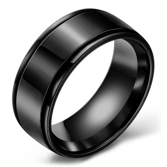 Mirrored Two-slot Stainless Steel Ring - BLACK 11