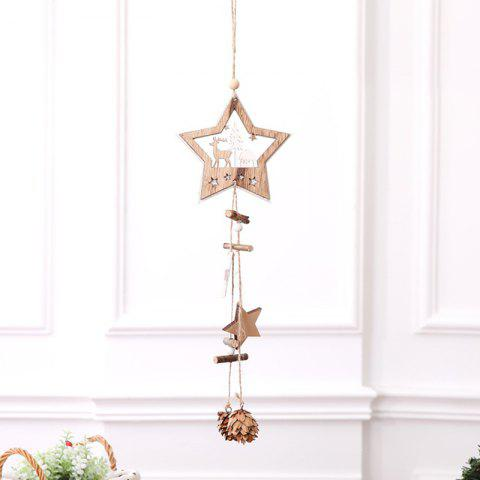 Christmas Supplies Wooden Five-pointed Star Hanging Rope Pine Cone Decoration Pendant - BURLYWOOD FIVE-POINTED STAR