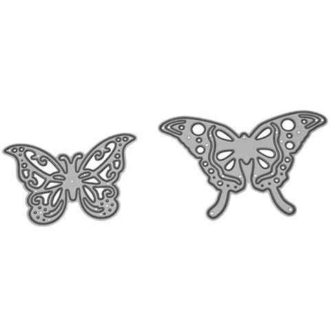 9 -  LBE3499 Silver Carbon Steel Knife Mold Butterfly Cutting Dies 2pcs - SILVER