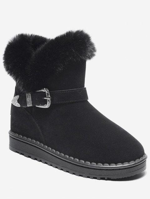 Engraved Buckle Faux Fur Snow Boots - BLACK EU 38