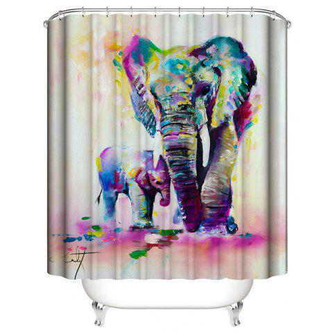 Landscape Digital Printing Elephant Waterproof Anti Mildew Shower Curtain