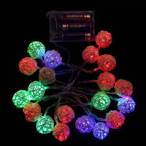 2.2m 20 Head Led Rattan Ball Battery Box Holiday Party Decoration Light String - multicolor A