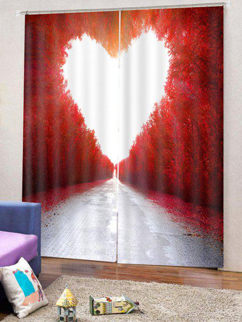 Maple Heart Printed 2PCS Window Curtains - multicolor W33.5 X L79 INCH X 2PCS