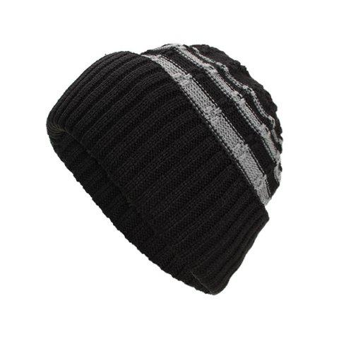 Thick Horizontal Stripes Hedging Knitted Hat for Autumn and Winter - BLACK