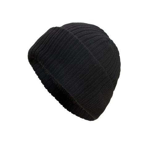 Autumn And Winter Brushed Dual-use Homochromous Vertical Stripe Hedging Cap Knitted Sweater Cap - BLACK