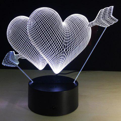 Belle lampe de table à LED colorée Night Love de l'amour créatif 3D - Noir