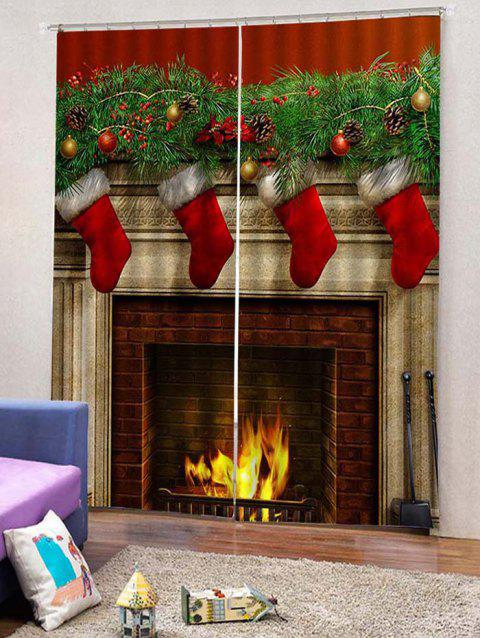 2PCS Christmas Gift Stocking Window Curtains - LAVA RED W33.5 X L79 INCH X 2PCS