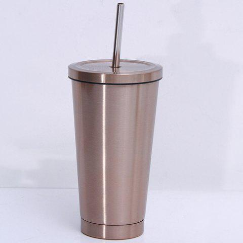 Stainless Steel Straight Thermos Cup Portable Straw Cup - FALL LEAF BROWN