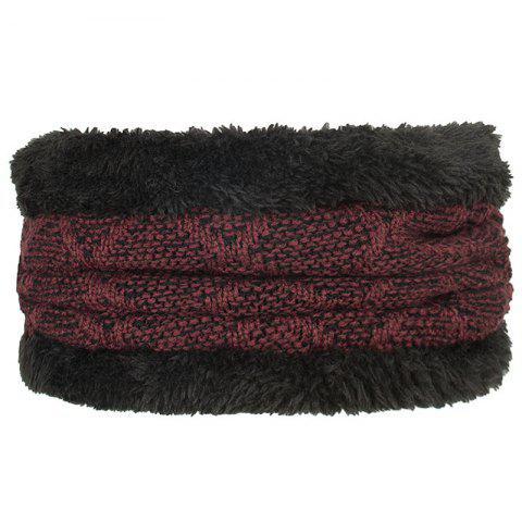 Plus Velvet Diamond Bi-color Collar Scarf - RED WINE