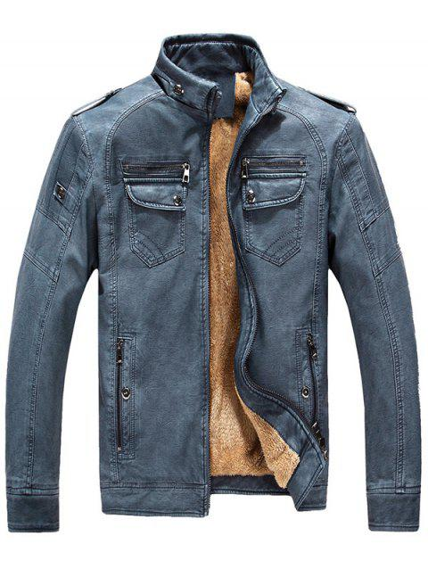 9c0acd5c5cc PU Leather Autumn And Winter Men's Jacket Leather Plus Velvet Washed Vintage  Leather - DENIM BLUE