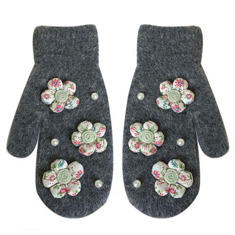 Female Warm Double Layer Thick Three-dimensional Fabric Small Flowers Rabbit Fur Gloves - DARK GRAY