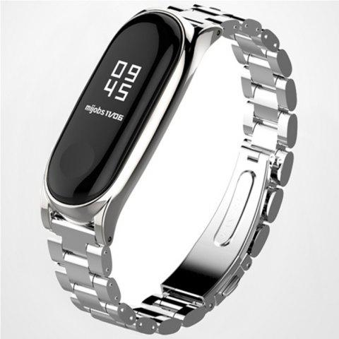 Three Beads Solid Replacement Steel Belt for Xiaomi Mi Band 3 - SILVER