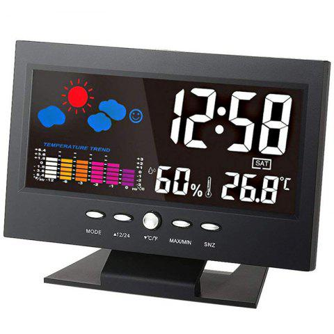 Indoor LCD Digital Temperature Hygrometer Weather Station Perpetual Calendar Clock - BLACK