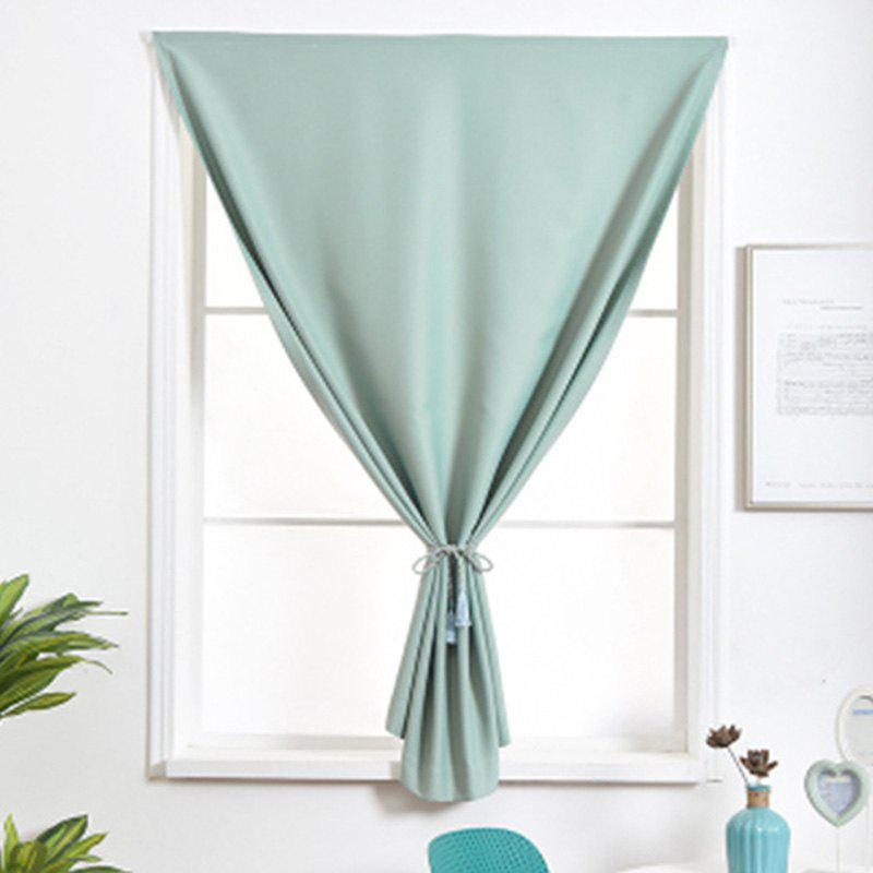 Curtain Finished Simple Solid Color Shading Free Punch Short Curtain - CYAN OPAQUE 150X220CM