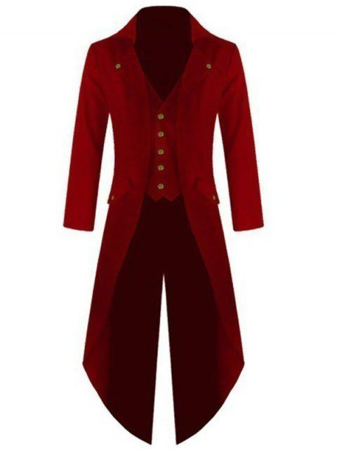 Men Stylish Long Sleeve Button Irregular Swallow-tailed Coat - RED WINE L