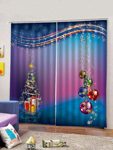 Statement Layered Christmas Snowflake 2PCS Window Curtains - multicolor W33.5 X L79 INCH X 2PCS