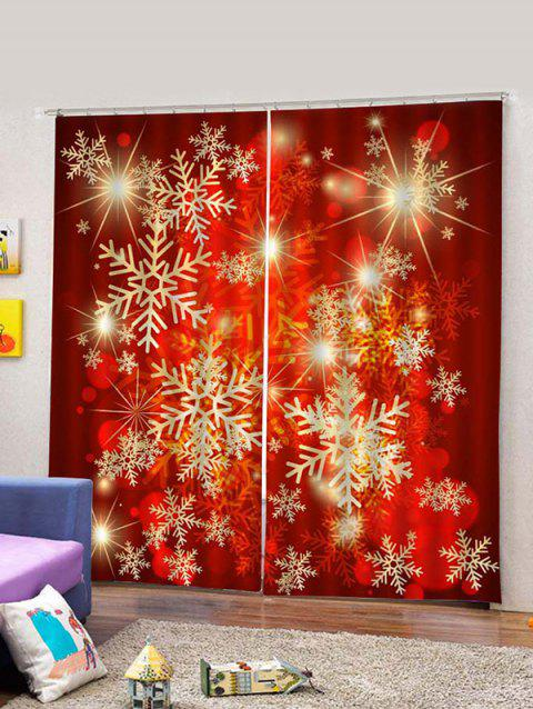 2PCS Red Snowflake Printed Window Curtains - multicolor W30 X L65 INCH X 2PCS