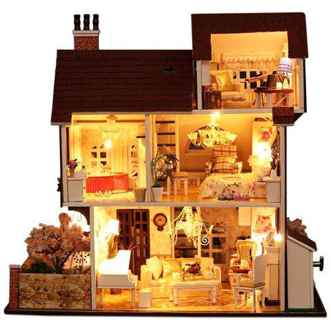 Flower Town DIY Dollhouse with Furniture Light Music Cover Miniature Model Gift - TAN