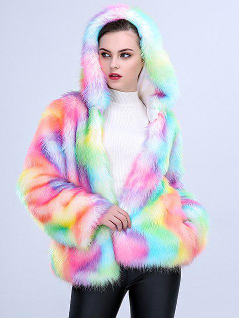 One-piece Women Long Plush Fur Coat - multicolor A 3XL