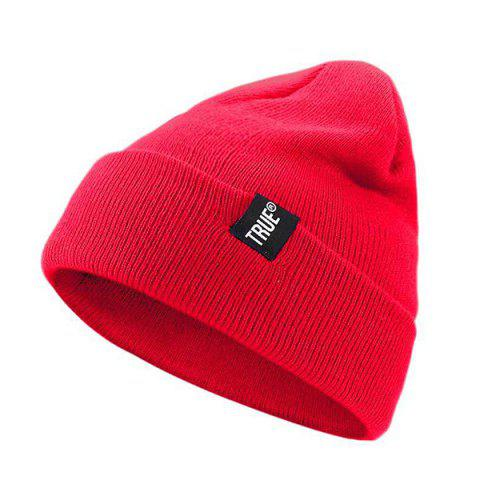 Autumn Winter Warm Woven Standard Knitted Wool Hat - RED