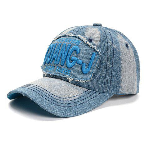 Letter Embroidery Old Baseball Cap Hat - SKY BLUE