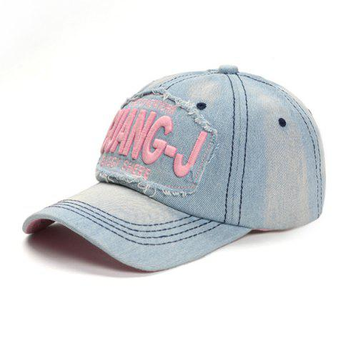Letter Embroidery Old Baseball Cap Hat - LIGHT PINK