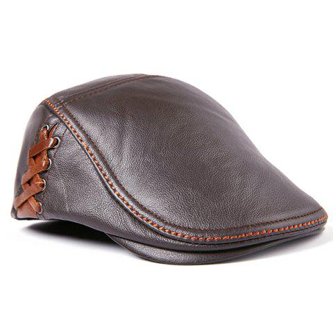 Autumn and Winter Cowhide Men's Gentleman Aristocratic Style Peaked Cap - DEEP BROWN XXL