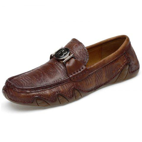 Men Comfortable Stylish Leather Casual Shoes - BROWN EU 42