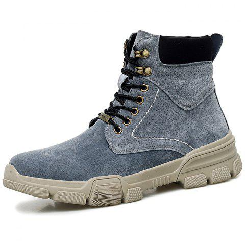 Men Lace-up High-top Boots Comfortable Warm Wearable - GRAY EU 42