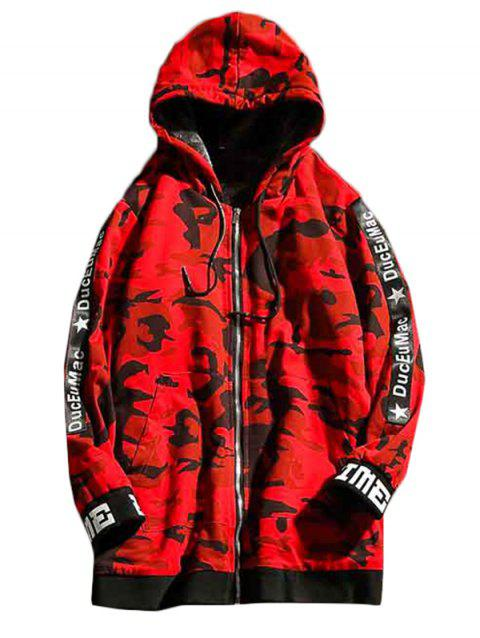 Men's Hoodie Plus Velvet Thick Hooded Long Section - RED 5XL