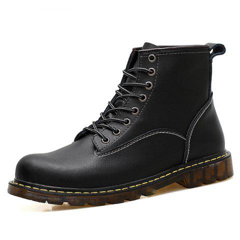 Men High Top Large Size Boots - BLACK EU 44